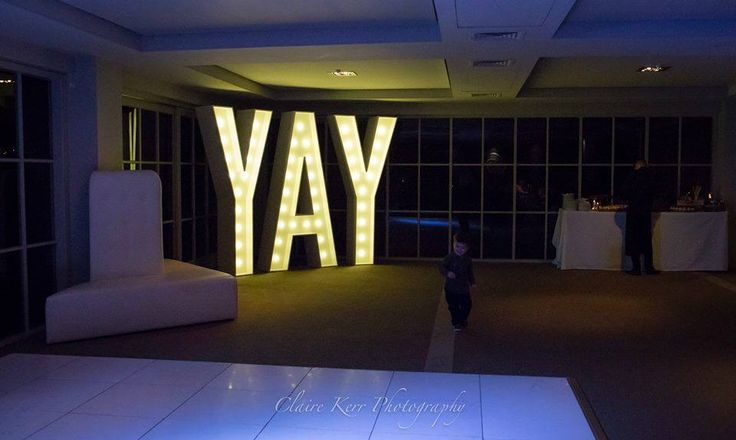 Our fabulous 2.4m high YAY light-sign - pic couresy of Claire Kerr Photography