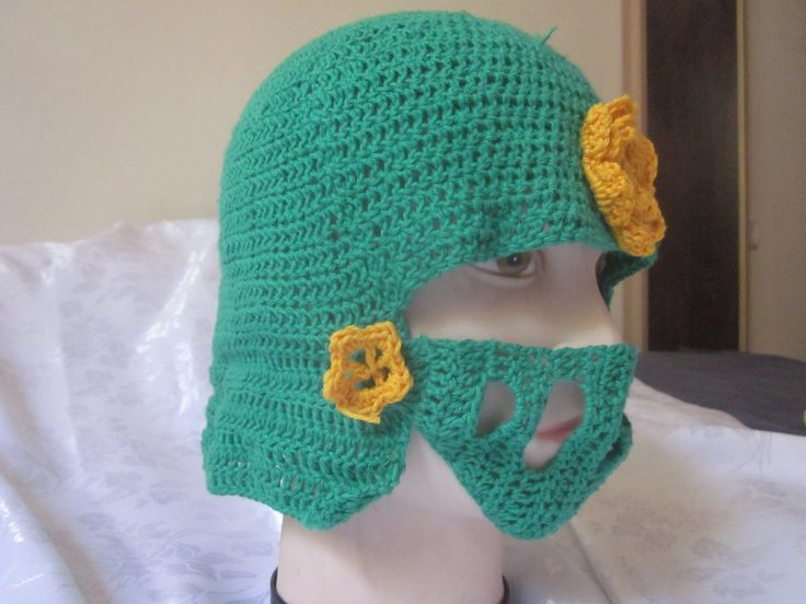 Green knight helmet, decorated with gold\yellow flowers,House Tyrell from Song of ice and fire book color scheme by knightwhosaidknit on Etsy