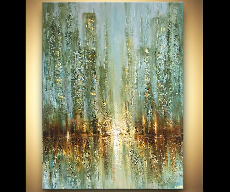 Original city acrylic painting modern palette by for Abstract painting in acrylic
