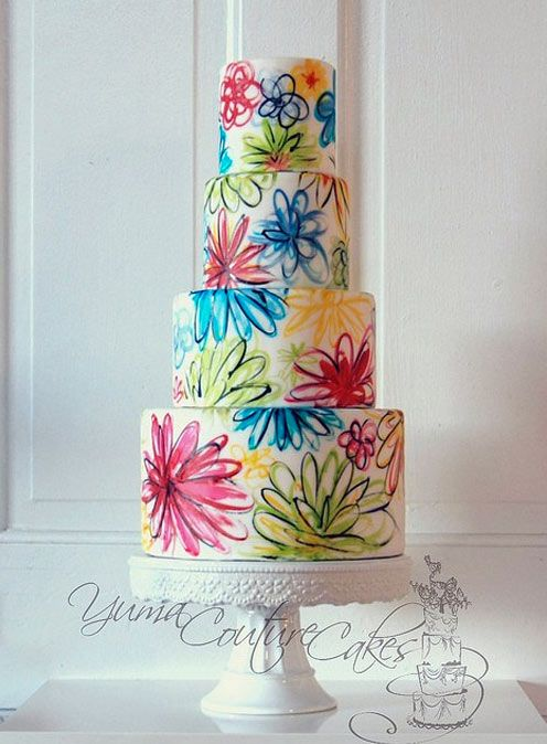 Couture Cake Airbrushed with Modern Floral Pattern