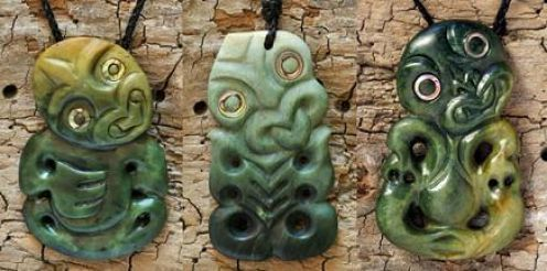 Pounamu (jade) tiki symbol necklaces by master carver Ewan Parker.  Much like the leprechaun of Ireland these little buddies sponsor luck and fortune among the Maori of New Zealand.