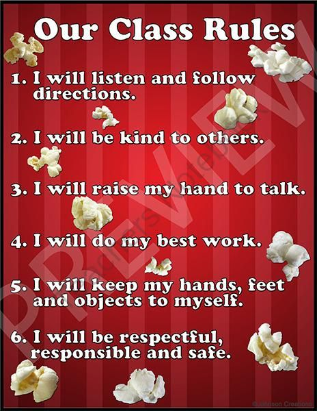 """Popcorn Themed Classroom Rules Sign from Johnson Creations on TeachersNotebook.com -  (2 pages)  - This popcorn themed classroom rules sign is 8.5"""" x 11"""" and has 6 rules."""