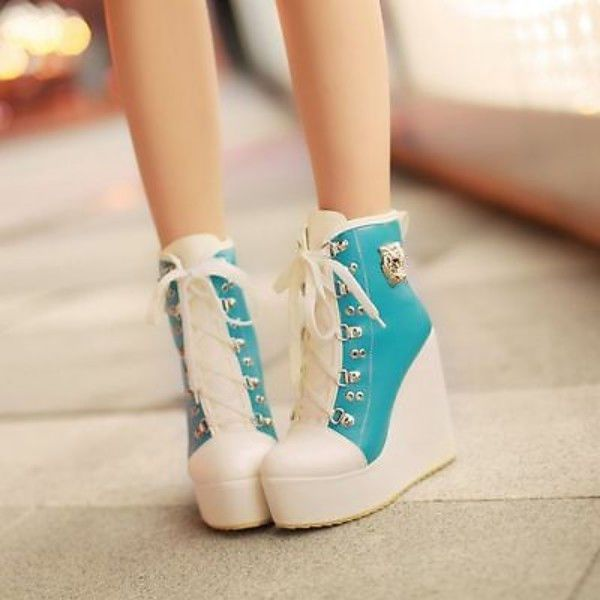 Women's Lace-up Wedge Shoes Platform Boots Sneakers Shoes Blue US 8 | …
