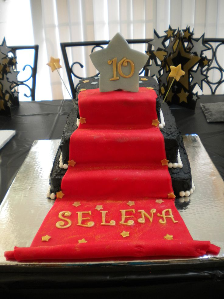 30 best party ideaa images on pinterest birthdays hollywood party red carpet cake 3 tiered red carpet cake for my nieces 10th birthday party filmwisefo