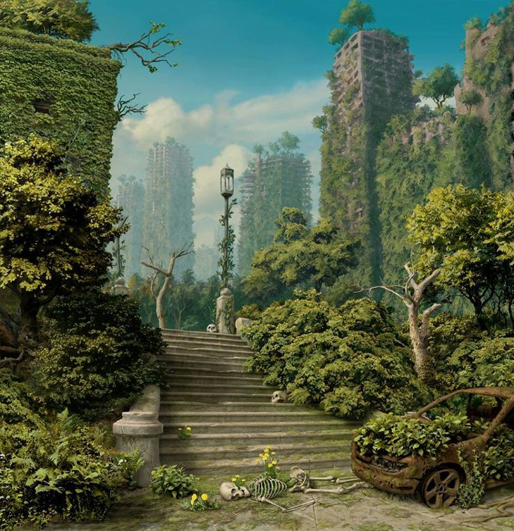 The post-apocalypse I see in our very nearly future isn't this pretty, considering what humans are doing to the environment.