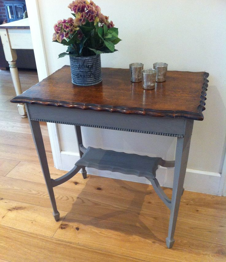 Charming side table with French Linen legs