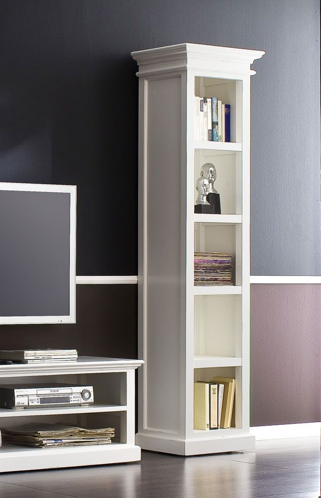 White Narrow Bookcase With Doors
