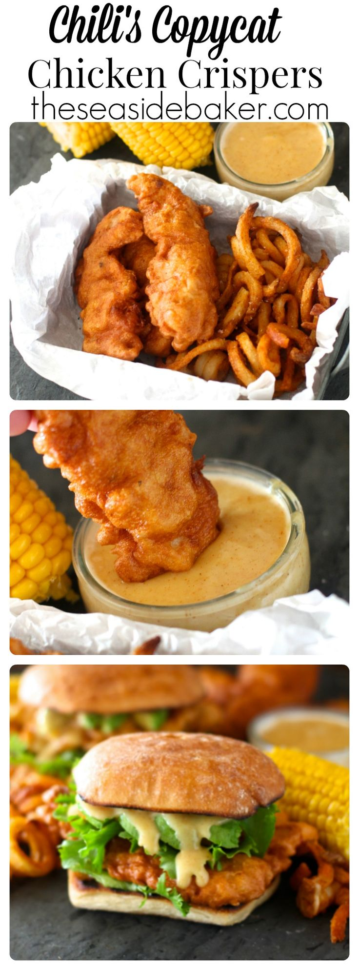 Homemade crispy battered chicken tenders with honey mustard dipping sauce just like at Chili's! Recipe on @