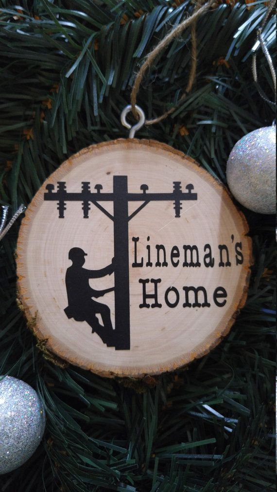 Wooden lineman ornament by CrackerChild on Etsy