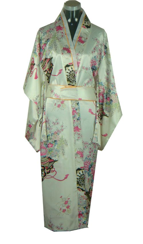 Hot Selling Japanese Vintage Original Tradition Silk Yukata Kimono Dress with Obi One size CFree shipping