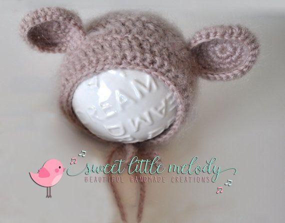 Baby Bear Bonnet Newborn Teddy Bear Bonnet by SweetLittleMelody