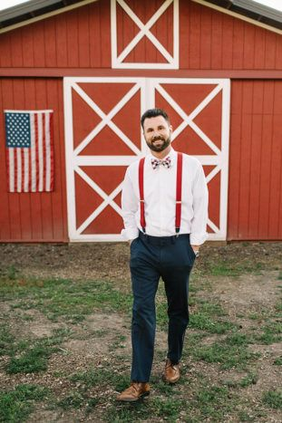 4th of July, Americana groom idea - red, white, and blue bow tie with navy pants and red suspenders