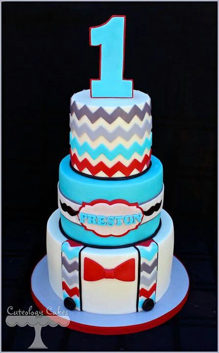 Turquoise, Gray and Red Little Man Cake with Chevron