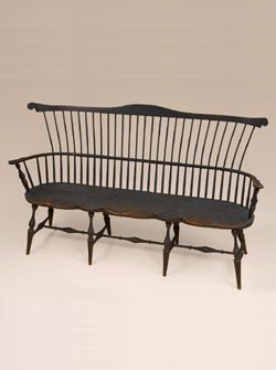 Bench with an Early American Design. I like the primitive finish. Super cute for our sitting room.