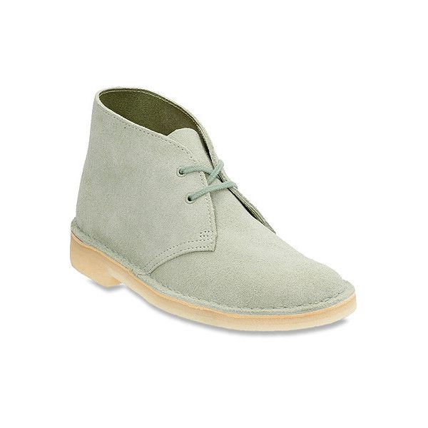 Clarks Desert Boot ($130) ❤ liked on Polyvore featuring shoes, boots, men, pale green suede, short boots, moccasin boots, moccasin ankle boots, leather boots and bootie boots