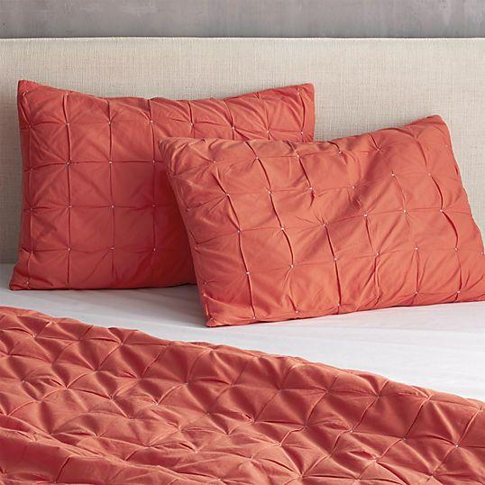 mahalo red-orange bed linens | CB2