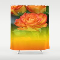 YELLOW ROSES WITH ORANGE TIPS Shower Curtain
