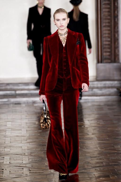Ralph Lauren red velvet pants suit