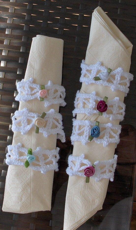 7 new handmade napkin holders for wedding, birthdays, babyshowers, christmas, daily decoration, table decor by Hildescrochetshop on Etsy