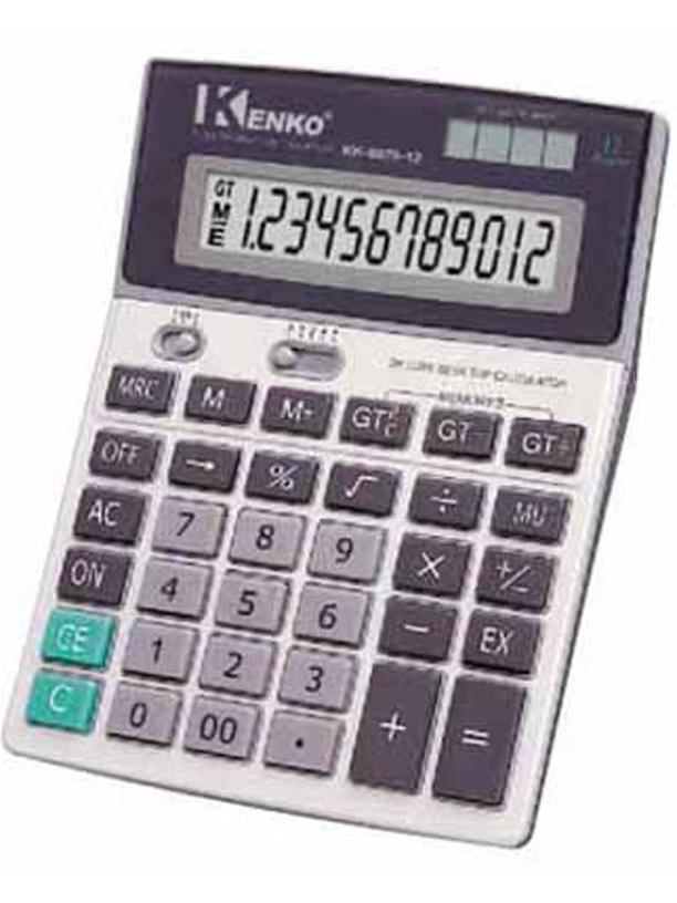 CALCULADORA KENKO KK-8875-12  Calculadora 12 dígitos;  Operações básicas;  Raiz quadrada;  Porcentagem.