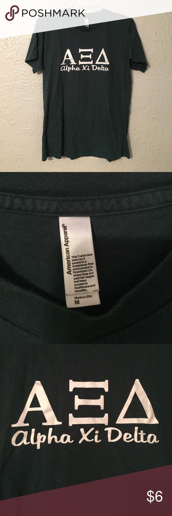Green alpha xi delta AXiD tshirt American apparel Green and alpha xi delta AXiD tshirt American apparel brand size medium American Apparel Tops Tees - Short Sleeve
