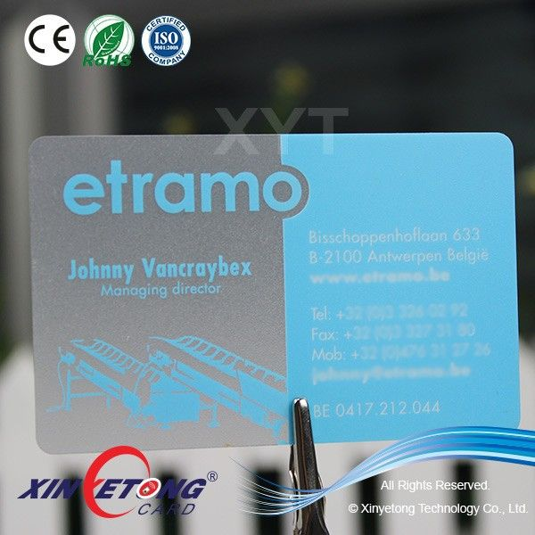 Full Color Printing Frosted Finish Surface Transparent Business Card/Transparent Membership Card