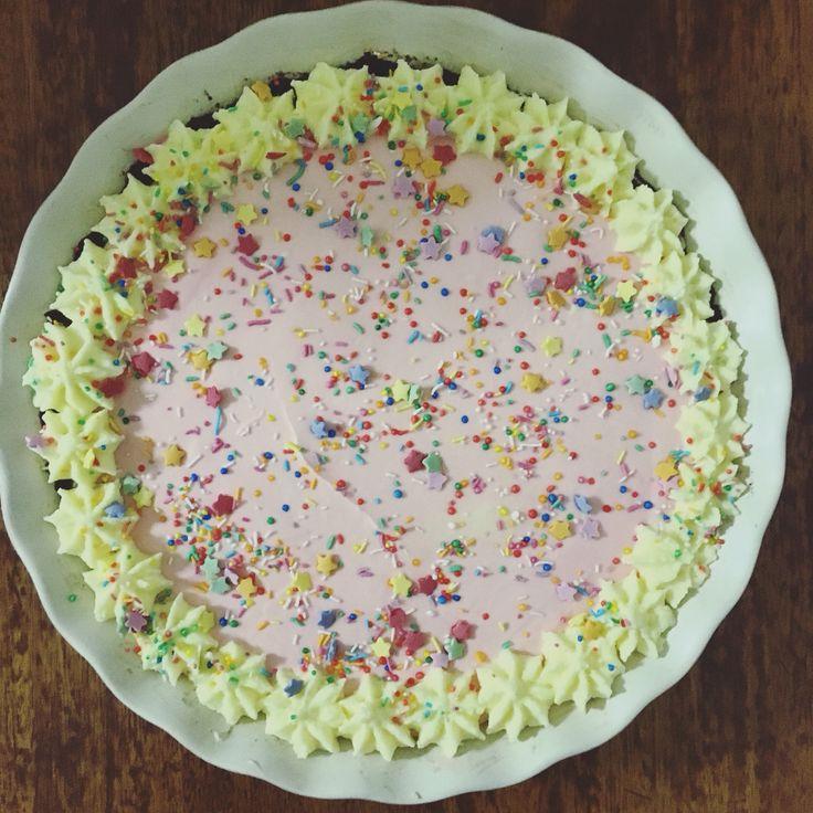 Strawberry Nesquik and Oreo cheesecake