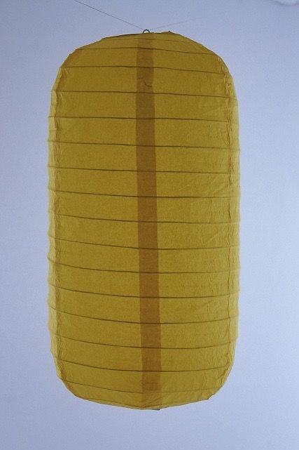 Lanterna di carta di riso da appendere Tubolare, colore Gialla. Diametro 30 cm, altezza 48 cm con gancio.