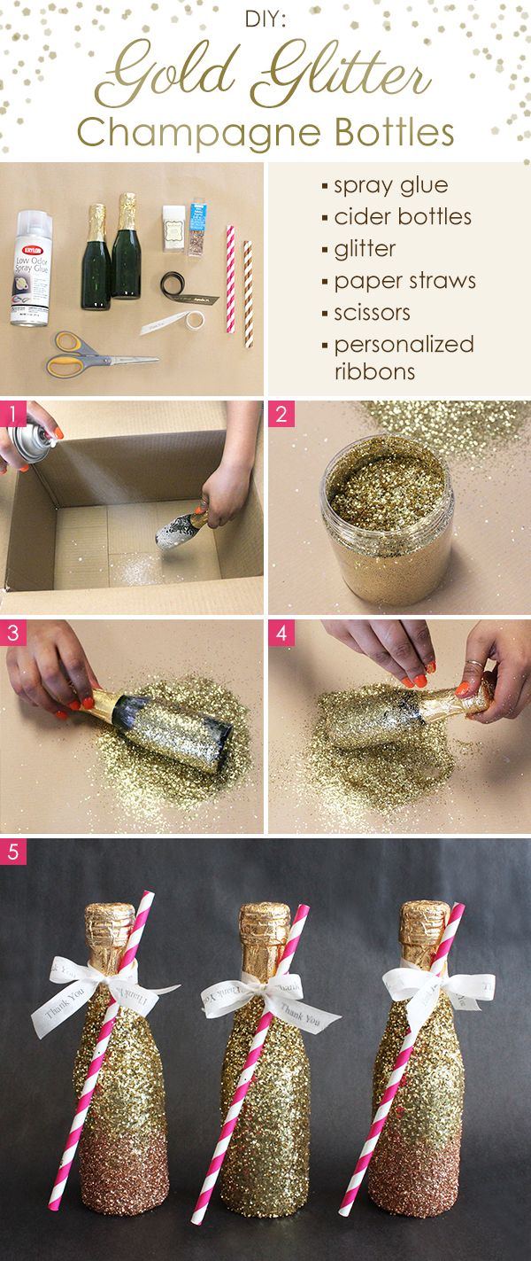 This DIY is super simple yet super decadent looking. Ombré gold mini champagne bottles.