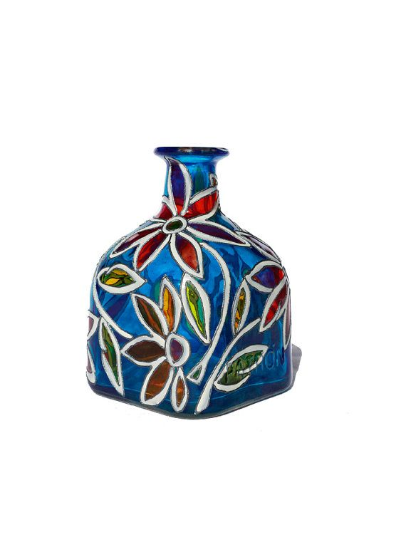 "Cobalt Blue Hand Painted ""Patron"" Bottle with Abstract Flowers"