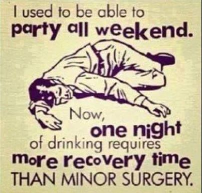 I used to be able to party all weekend. Now, one night of drinking requires more recovery time than minor surgery. Libation Humor and Quotes, Drink Humor, Drink Jokes, Drink Memes, Adult Humor, Adult Memes, Atlanta, Los Angeles, New York, San Francisco, Oakland, Washington DC, Miami, Toronto, Chicago, Boston, Tampa, Orlando, Las Vegas, Houston, Dallas, Charlotte