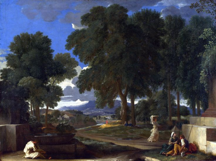 Nicolas Poussin - Landscape with a Man washing his Feet at a Fountain.