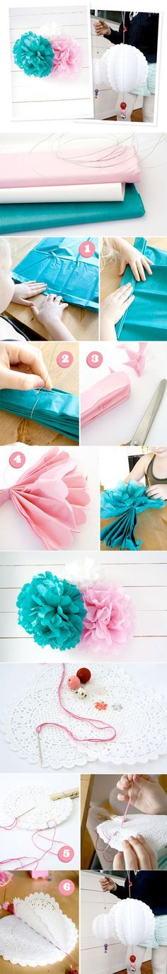Great Paper Designs. Pretty for parties. I like idea of doing a giant pink zebra stripe flower on a stick wrapped in green floral tape for Keys. Maybe potting it.