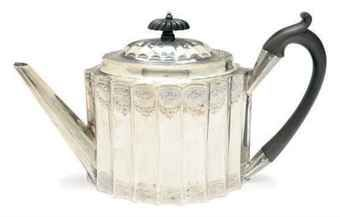 A GEORGE III SILVER TEAPOT WITH HINGED COVER,  MARK OF PETER AND ANN BATEMAN, LONDON, 1792,  Price realised  USD 1,000