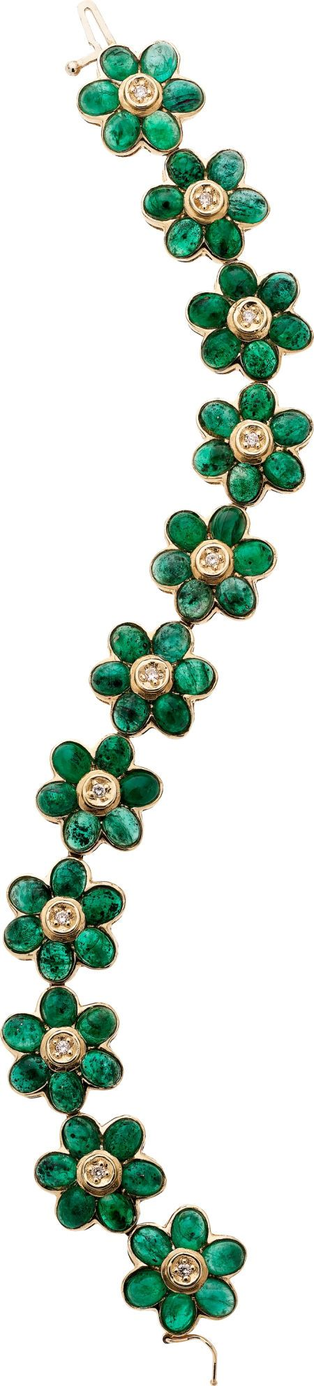 Emerald, Diamond, Gold Bracelet The bracelet features oval-shaped emeralds weighing a total of approximately 24.00 carats, enhanced by full-cut diamonds weighing a total of approximately 0.20 carat, set in a 14k gold flower motif. Gross weight 31.30 grams. Dimensions: 7 inches x 9/16 inch.