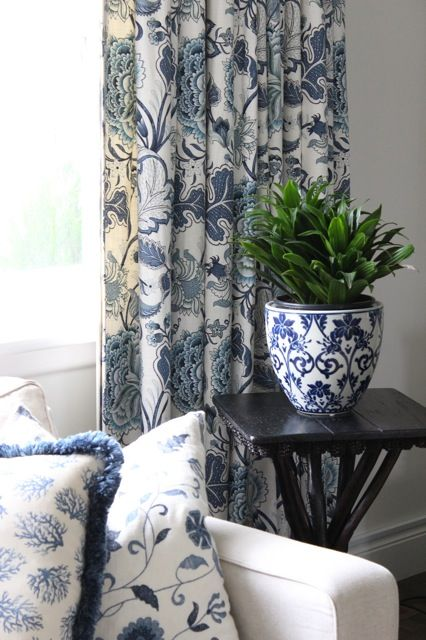 """Blue and white fabric & planter. """"Repinned by Keva xo""""."""