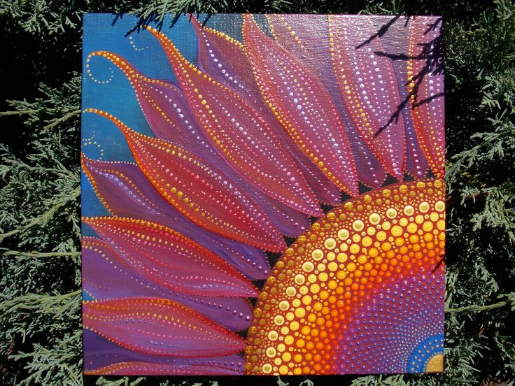 Wildflower Mandala, 8x8 Canvas Board, Dot Painting, Sacred Geometry, Purple Wildflower, Art by Kaila Lance, Mandala Flower by KailasCanvas on Etsy