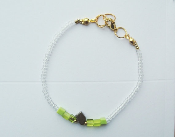 Pyrite and Glass Beads Bracelet  Thin Bracelet  Lime by SKRIN, $25.00