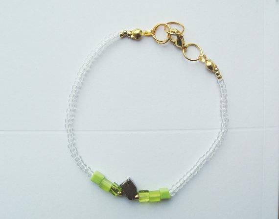 Pyrite and Glass Beads Bracelet  Thin Bracelet  Lime by SKRIN, $25.00