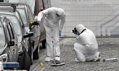 Forensic experts examine the site of a shooting at the Jewish museum in Brussels. Photograph: Yves Logghe/AP. Jewish museum attack leaves three dead in Brussels. Fears of a resurgence in violent antisemitism were raised after an attack at a Jewish museum in the centre of Brussels left three people dead and one badly injured.  #Jewish #Antisemitism #hatecrimes