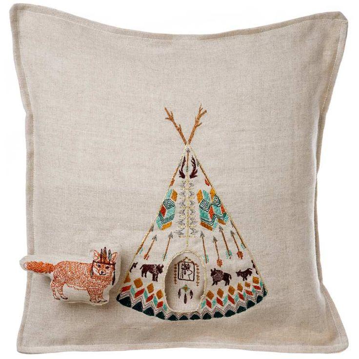 Plains Fox Embroidered Linen Pocket Pillow
