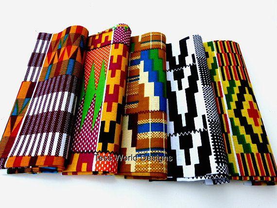 Fat Quarter Sale African Fabric Kente Print Bundle 5