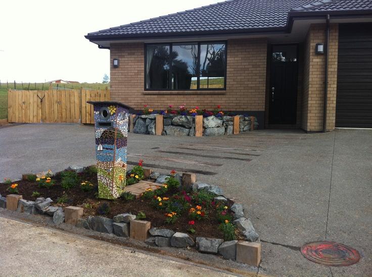 Mosaic letterbox garden driveway