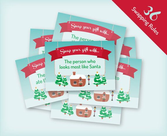 """Printable Christmas Gift Exchange Game -Vintage village design, 36 rule cards for swapping gifts, """"Yankee Swap"""" or """"White Elephant"""" Christmas party game, by Faffy Tea"""