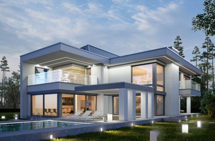 LK&1258 to nowoczesny, piętrowy dom, którego efektowna bryła skrywa w sobie funkcjonalne wnętrze. Projekt z dwustanowiskowym garażem i otwartą antresolą na pokój dzienny. Bez wątpienia, najważniejszym elementem wyróżniającym dom, jest układ przeszkleń, który daje komfort słonecznej przestrzeni.