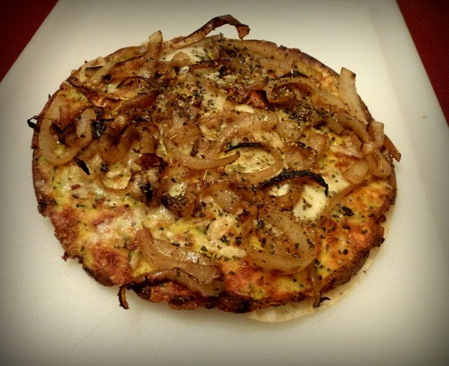 Zucchini Crusted Pizza with Caramelized Onions  #justeatrealfood #yestoyummy