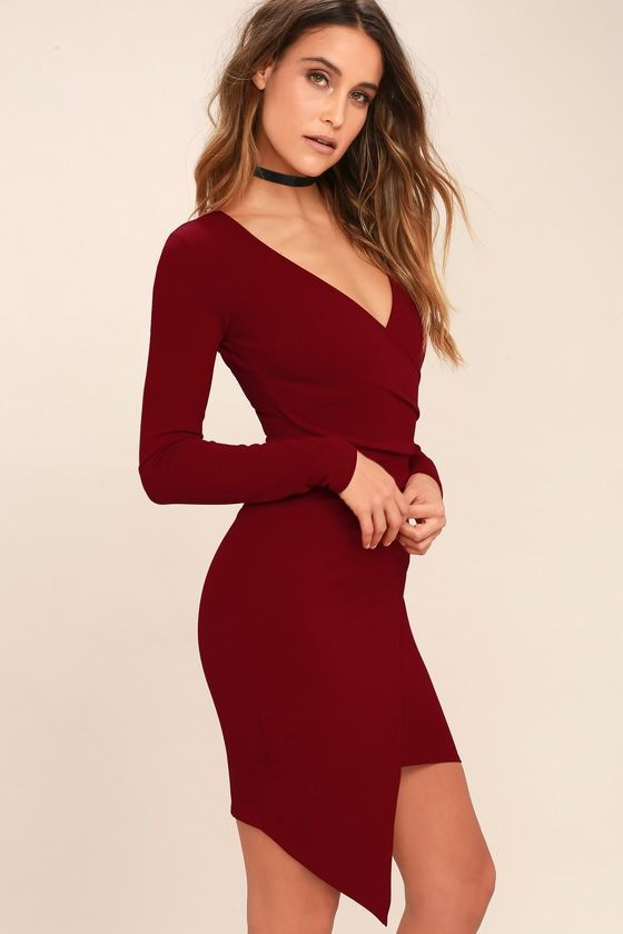 c907b6a4e16 Love Me Completely Dark Red Long Sleeve Bodycon Dress in 2019 ...