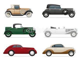 set icons old retro car vector illustration