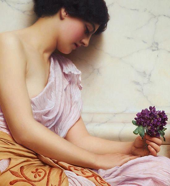 """""""Én már csak abból élek ha adok neked szívet virágot kacatot csókot csapongást örömet nem tudom mit csináljak nélküled?""""     Gyurkovics Tibor   (John William Godward: Violets, sweet violets (detail) 1906)     (www.facebook.com/nemethgy1/photos)"""