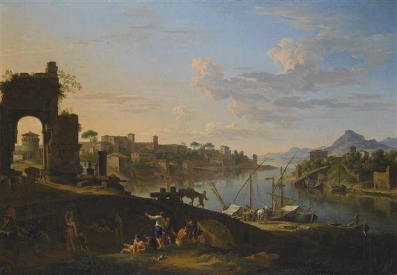 jacob de heusch CAPRICCIO OF THE RIVER TIBER IN ROME